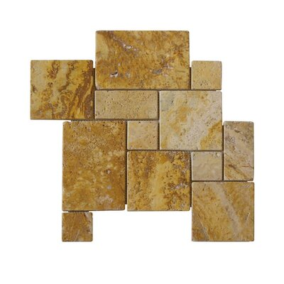 Tumbled Natural Stone Mosaic Tile in Gold