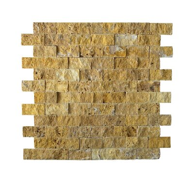 1 x 2 Natural Stone Mosaic Tile in Gold
