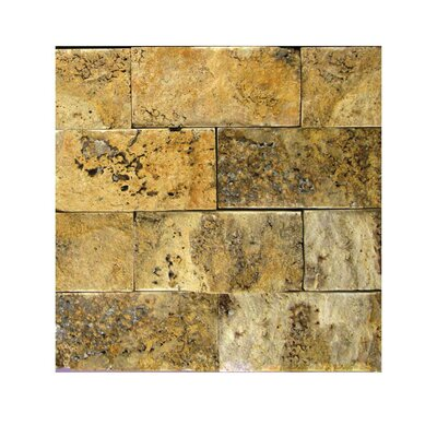 2 x 4 Natural Stone Mosaic Tile in Gold
