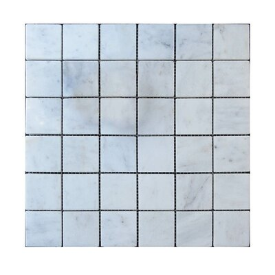 Polished 2 x 2 Natural Stone Mosaic Tile in Lusso Carrara