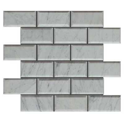 Pillow Edge 2 x 4 Natural Stone Mosaic Tile in Lusso Carrara