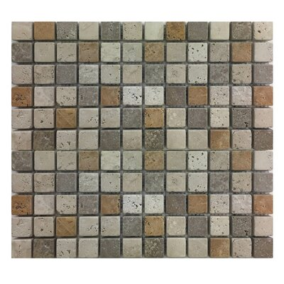 Tumbled 1 x 1 Natural Stone Mosaic Tile in Gold/Noce