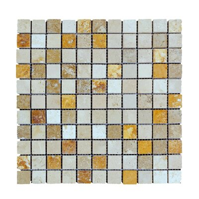 Honed 1 x 1 Natural Stone Mosaic Tile in Gold/Noce