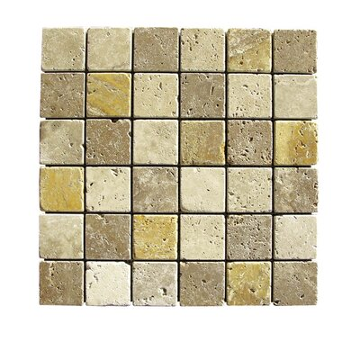Tumbled 2 x 2 Natural Stone Mosaic Tile in Gold/Noce