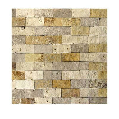 1 x 2 Natural Stone Mosaic Tile in Gold/Noce