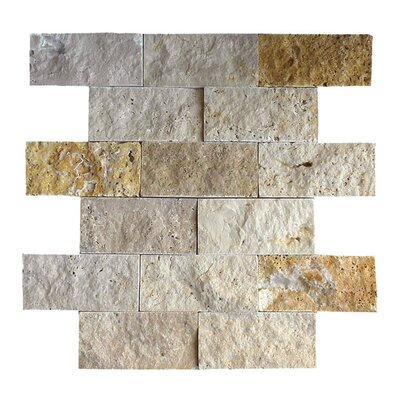 2 x 4 Natural Stone Mosaic Tile in Gold/Noce