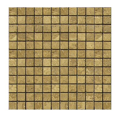 Tumbled 1 x 1 Natural Stone Mosaic Tile in Noce
