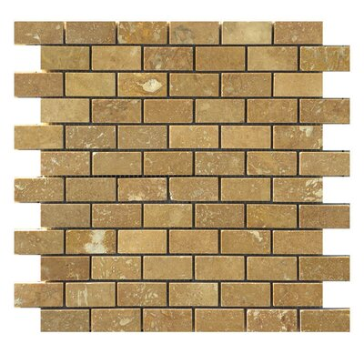 Honed 1 x 2 Natural Stone Mosaic Tile in Noce