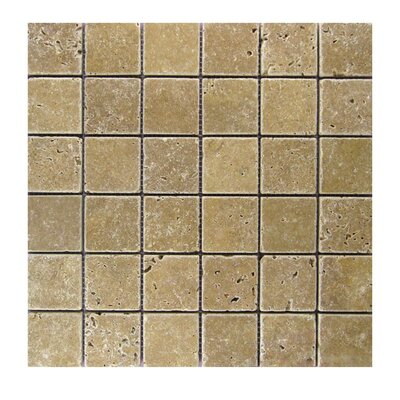 Tumbled 2 x 2 Natural Stone Mosaic Tile in Noce
