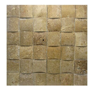 3D Honed 2 x 2 Natural Stone Mosaic Tile in Noce