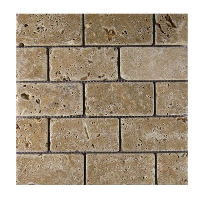Tumbled 2 x 4 Natural Stone Mosaic Tile in Noce