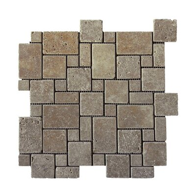 Tumbled Natural Stone Mosaic Tile in Noce