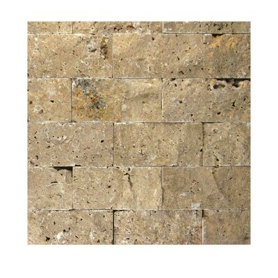 2 x 4 Natural Stone Mosaic Splitface Tile in Noce