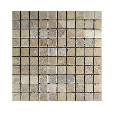 Tumbled 1 x 1 Natural Stone Mosaic Tile in Brown/Gray