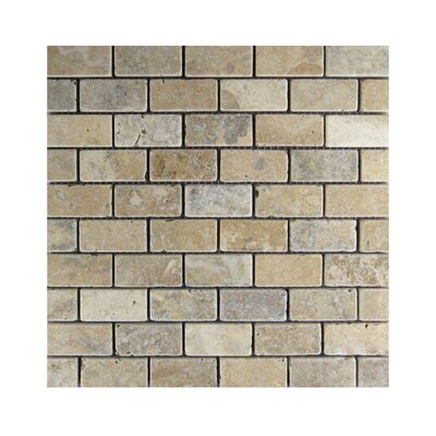 Tumbled 1 x 2 Natural Stone Mosaic Tile in Brown/Gray