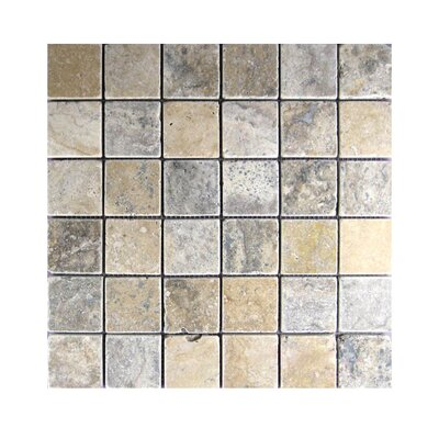 Tumbled 2 x 2 Natural Stone Mosaic Tile in Brown/Gray