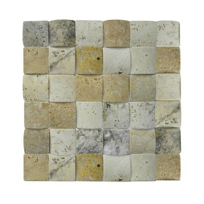 3D Honed 2 x 2 Natural Stone Mosaic Tile in Beige/Gray