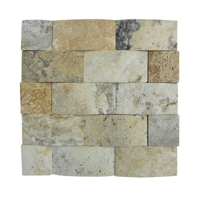 3D Honed 2 x 4 Natural Stone Mosaic Tile in Beige/Gray