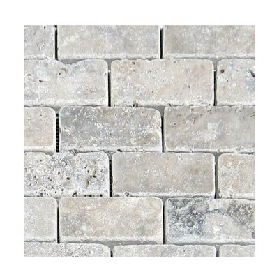 Tumbled 2 x 4 Natural Stone Mosaic Tile in Silver