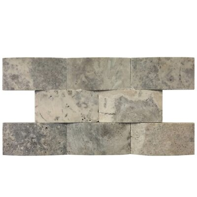 3D Honed 2 x 4 Natural Stone Mosaic Tile in Silver