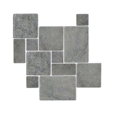 Tumbled 12 x 12 Natural Stone Mosaic Tile in Silver