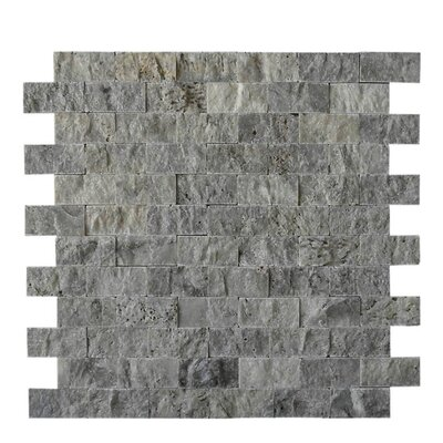 1 x 2 Natural Stone Mosaic Splitface Tile in Silver