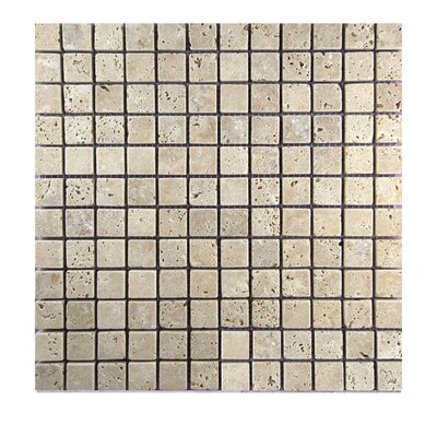 Tumbled 1 x 1 Natural Stone Mosaic Tile in Walnut