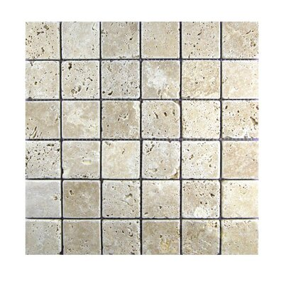 Tumbled 2 x 2 Natural Stone Mosaic Tile in Walnut