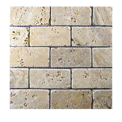 Tumbled 2 x 4 Natural Stone Mosaic Tile in Walnut