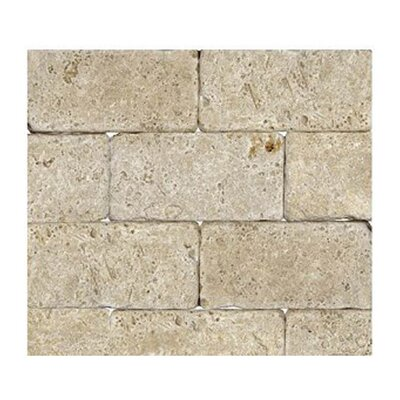 Tumbled 3 x 6 Natural Stone Mosaic Tile in Walnut
