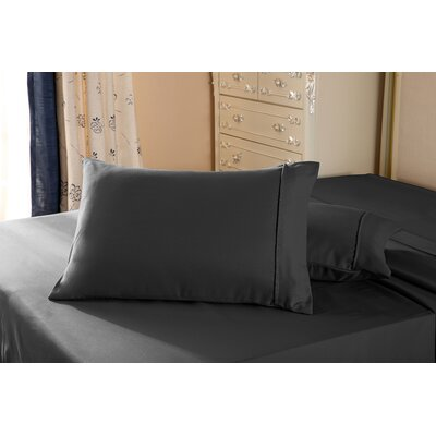 1800 Series Double Brushed Microfiber Pillowcase Color: Black, Size: Queen