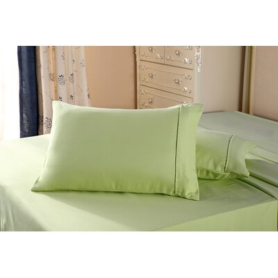 1800 Series Double Brushed Microfiber Pillowcase Color: Sage, Size: Queen