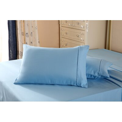 1800 Series Double Brushed Microfiber Pillowcase Color: Light Blue, Size: Queen