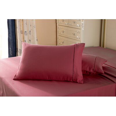 1800 Series Double Brushed Microfiber Pillowcase Color: Burgundy, Size: King