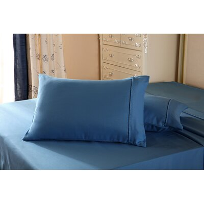 1800 Series Double Brushed Microfiber Pillowcase Color: Navy Blue, Size: Queen