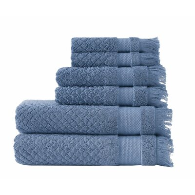 Omeara 6 Piece Towel Set Color: Blue
