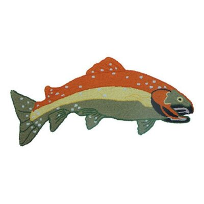 Fly Fishing Shaped Orange/Blue Area Rug Rug Size: Novelty 26 x 210