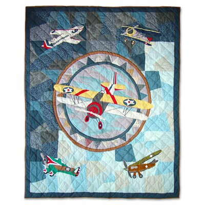 Airplane Cotton Throw Quilt
