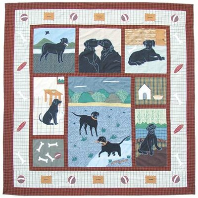 Black Lab Cotton Shower Curtain