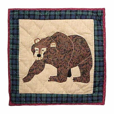 Cabin Bear Cotton Throw Pillow