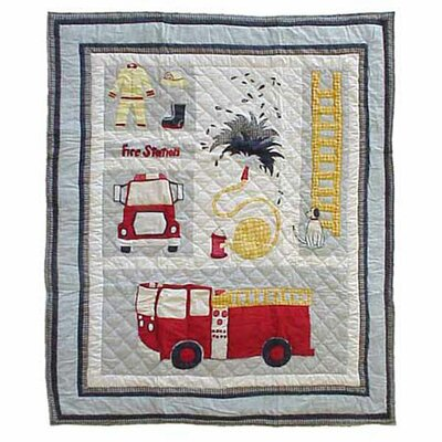 Fire Truck Cotton Throw Quilt