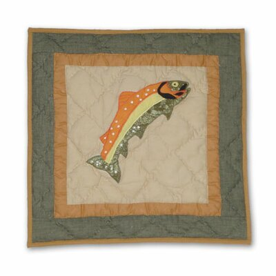 Fly Fishing Fish Cotton Throw Pillow