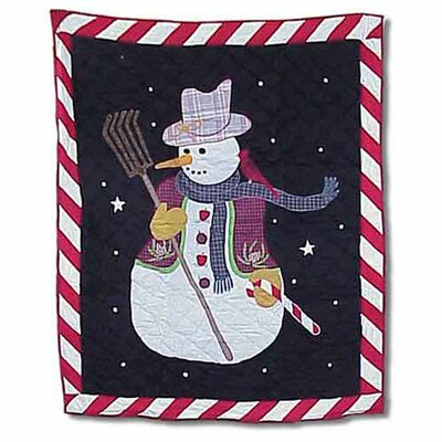 Frosty Snowman Cotton Throw Quilt