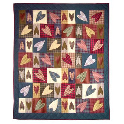 Primitive Hearts Cotton Throw Quilt