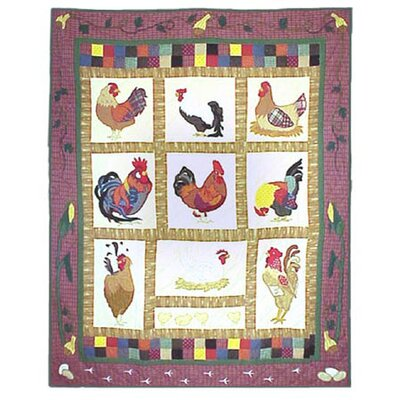 Rooster Cotton Throw Quilt