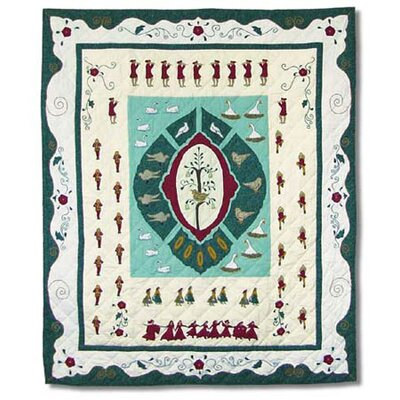 Twelve Days of Christmas Cotton Throw Quilt