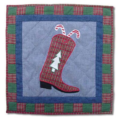 Western Santa Boot Cotton Throw Pillow