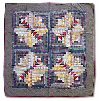 Wild Goose Log Cabin Cotton Throw Quilt