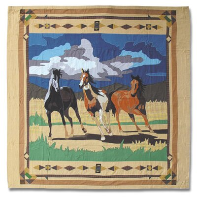 Wild Horses Cotton Shower Curtain