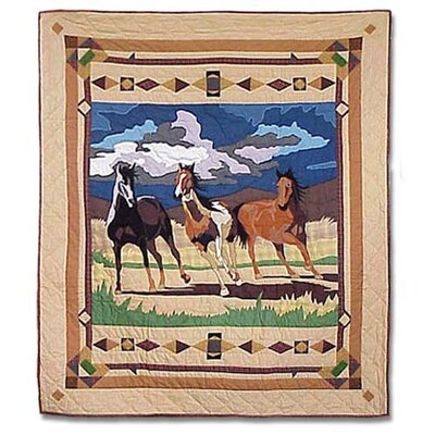 Wild Horses Cotton Throw Quilt